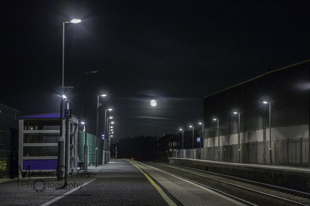 Full moon visible from Lurgan Train Station